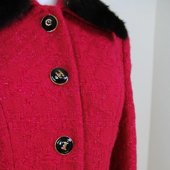Vintage 80/'s Bright Red Shimmering Parka Coat